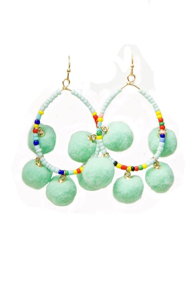 Golden Stella Sead Bead T-drop & Pompom Earrings in Mint