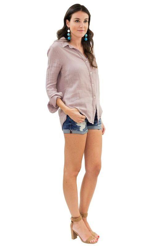 Felicite Boyfriend Crinkle Shirt- Pink