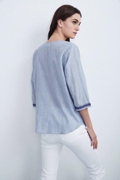 Velvet Women Mallory Embroidered Cotton 3/4 Sleeve Top