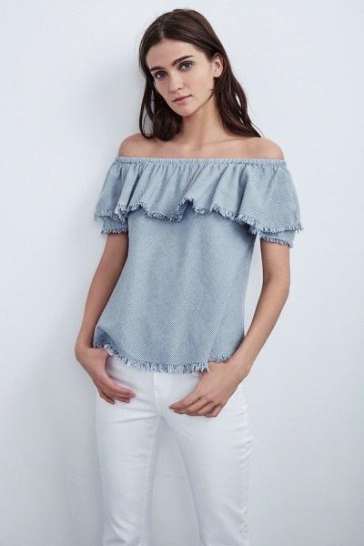 Velvet Women Paloma Woven Cotton Stripe Off the Shoulder Top