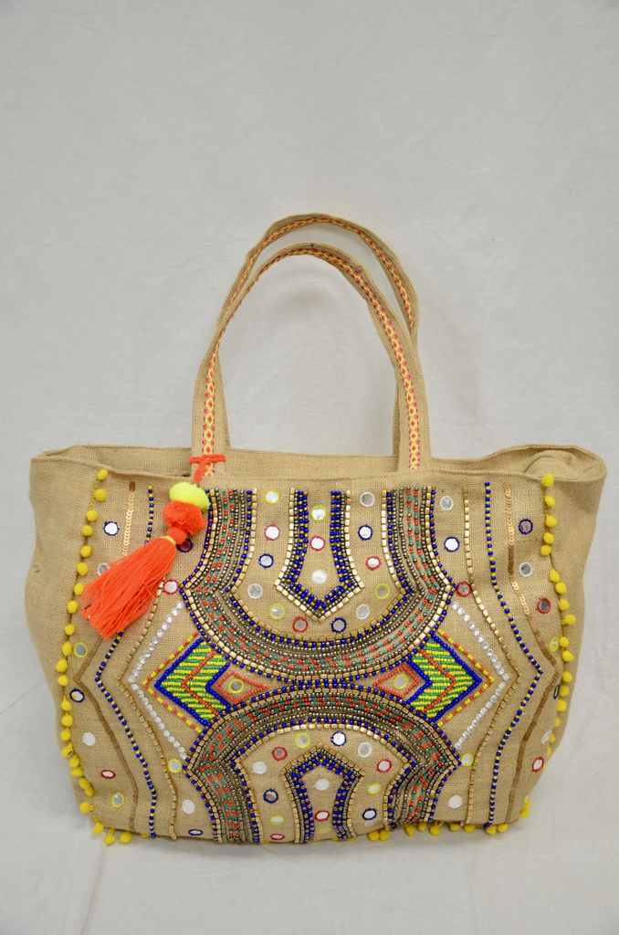 America & Beyond Embellished jute bag