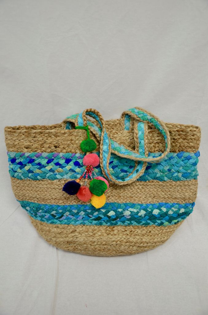 America & Beyond Natural Jute and cotton stripe bag- Blue