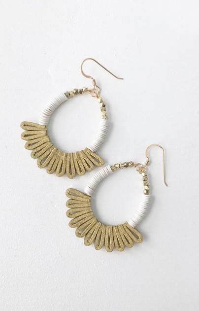 Little Fish Boateak Sea Fan Earrings- White Heishi