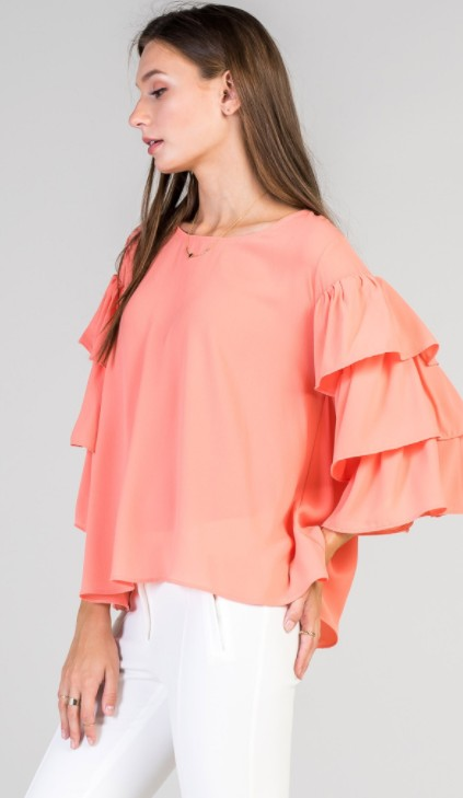 Red Lolly Coral flutter sleeve top