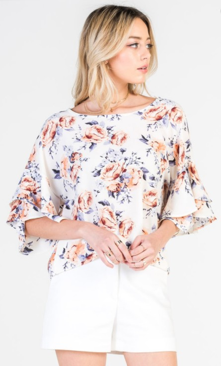 Red Lolly Double Bell Sleeve Ivory Floral Top