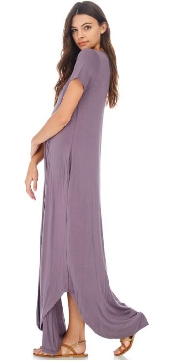 7th Ray V Neck T-Strap Short Sleeve Maxi Dress