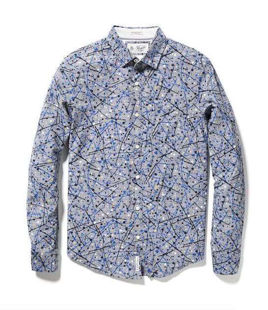 Original Penguin Splatter Print on Chambray Shirt