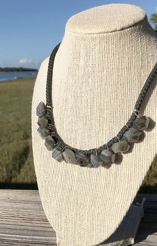 Little Fish Boateak Daysailer Necklace in Dainty Labradorite