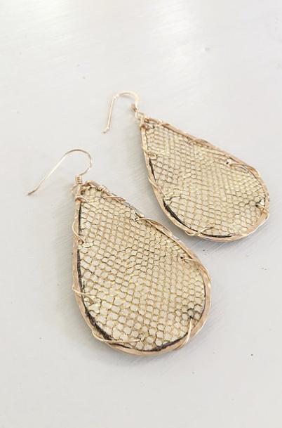 Little Fish Boateak Schooner Earrings in Golden Trout