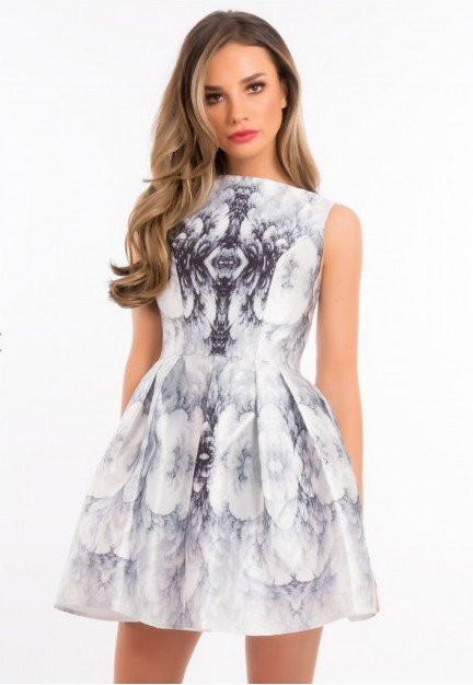 Forever Unique Lynette White and Grey Printed Dress