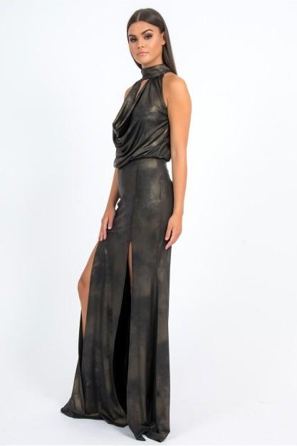 Forever Unique Madeline Bronze Brushed Metal Effect Maxi Dress