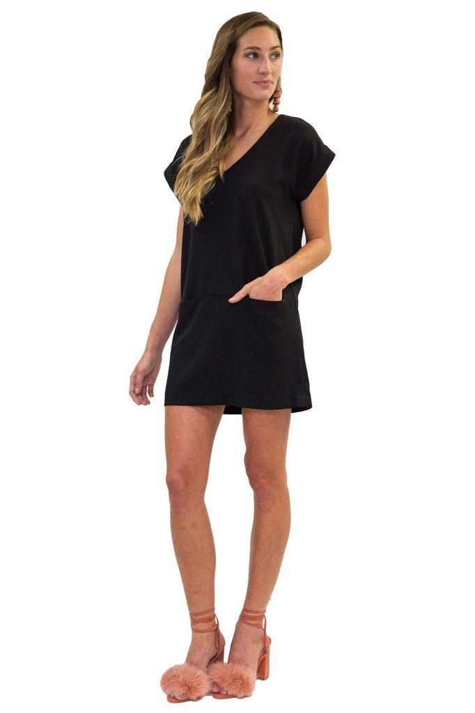 MAAC London Marsielle Black Front Pocket Mini Dress
