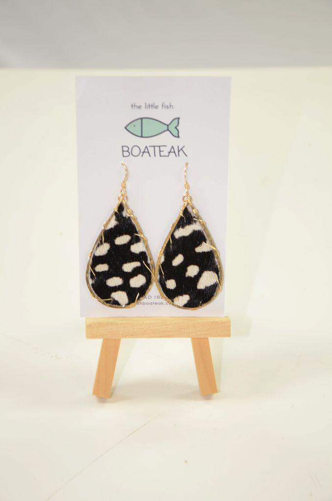 Little Fish Boateak Schooner Earrings- Dotty Back