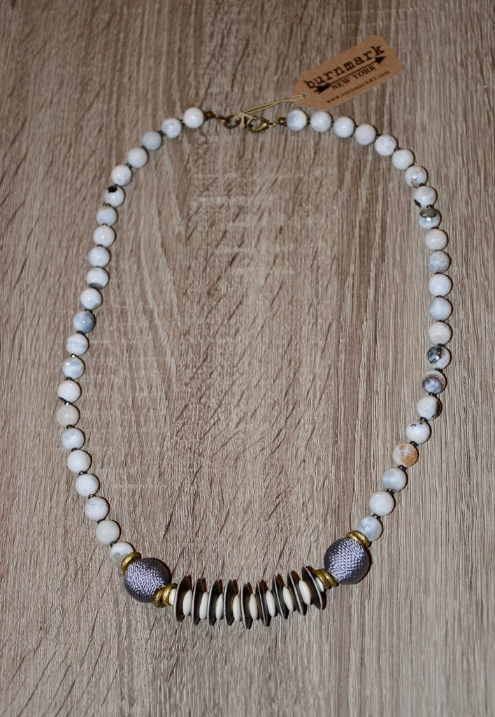 burnmark Leroy Necklace - White Agate & African Brass