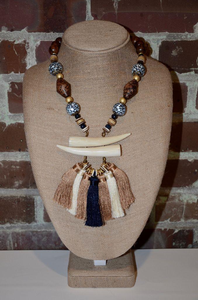 burnmark Tassel Necklace - Navy & Olivewood