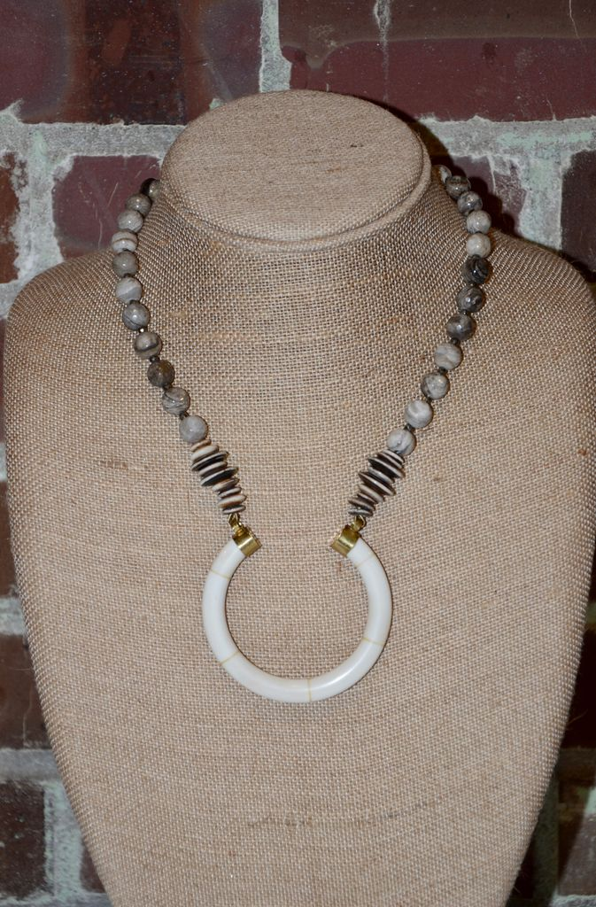 burnmark Perry Necklace - Jasper & Pyrite
