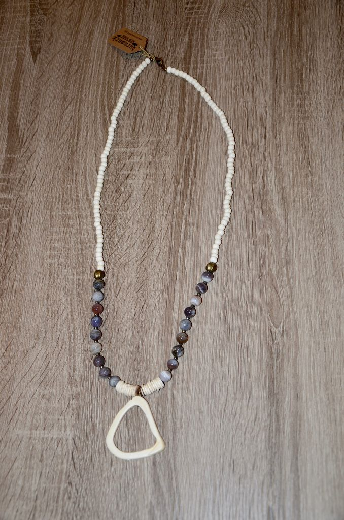 burnmark Clarkson Necklace - Agate & African Brass