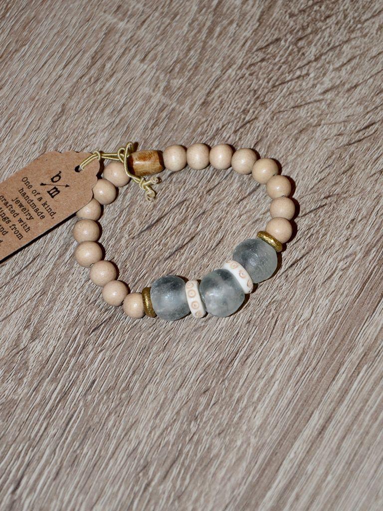 burnmark Ghana Glass Bracelet - Sage