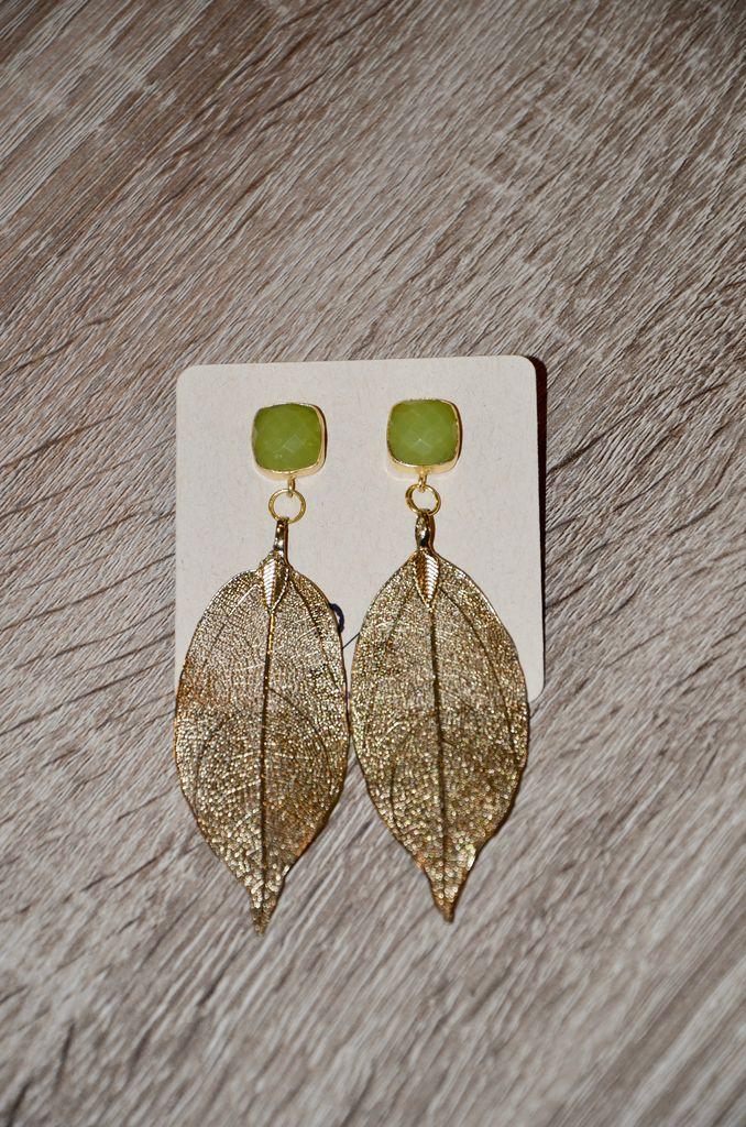 burnmark Gold Leaf Earrings - Pale Green