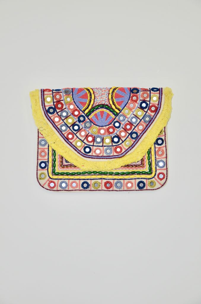 America & Beyond Tan embroidered and mirrored clutch