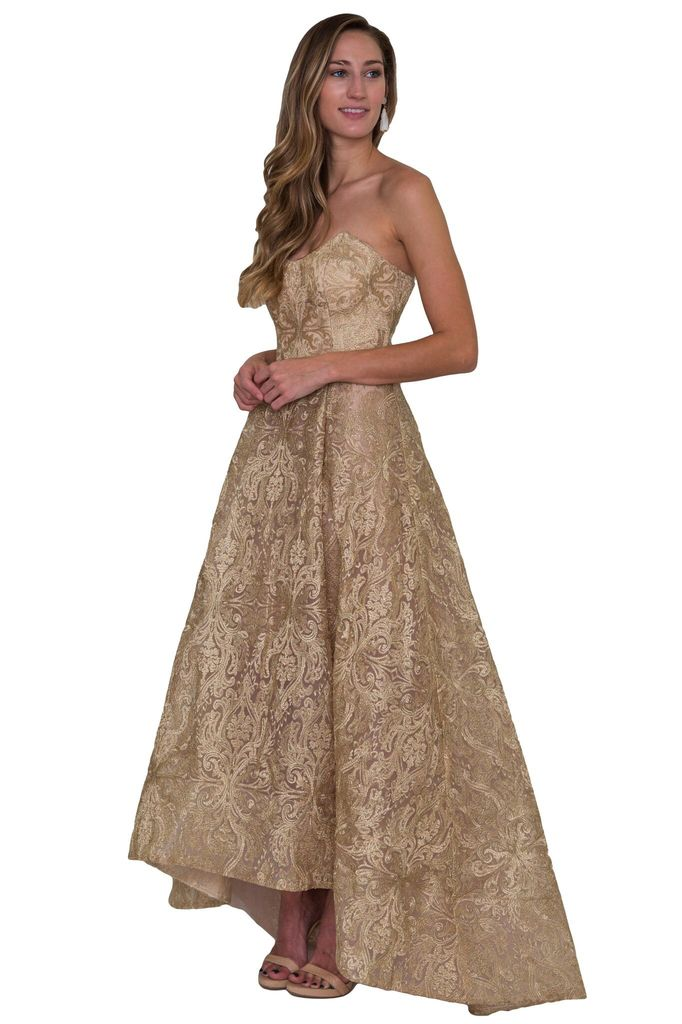 Bariano Amber Metallic Jacquard Ball Gown