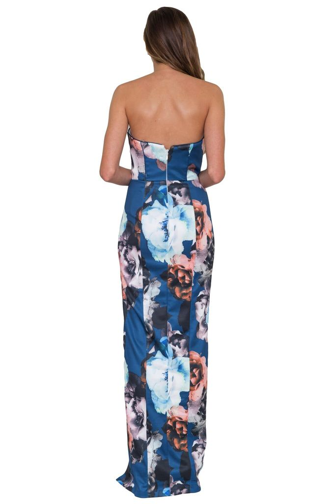 Bariano Arlene Strapless Floral Print Gown