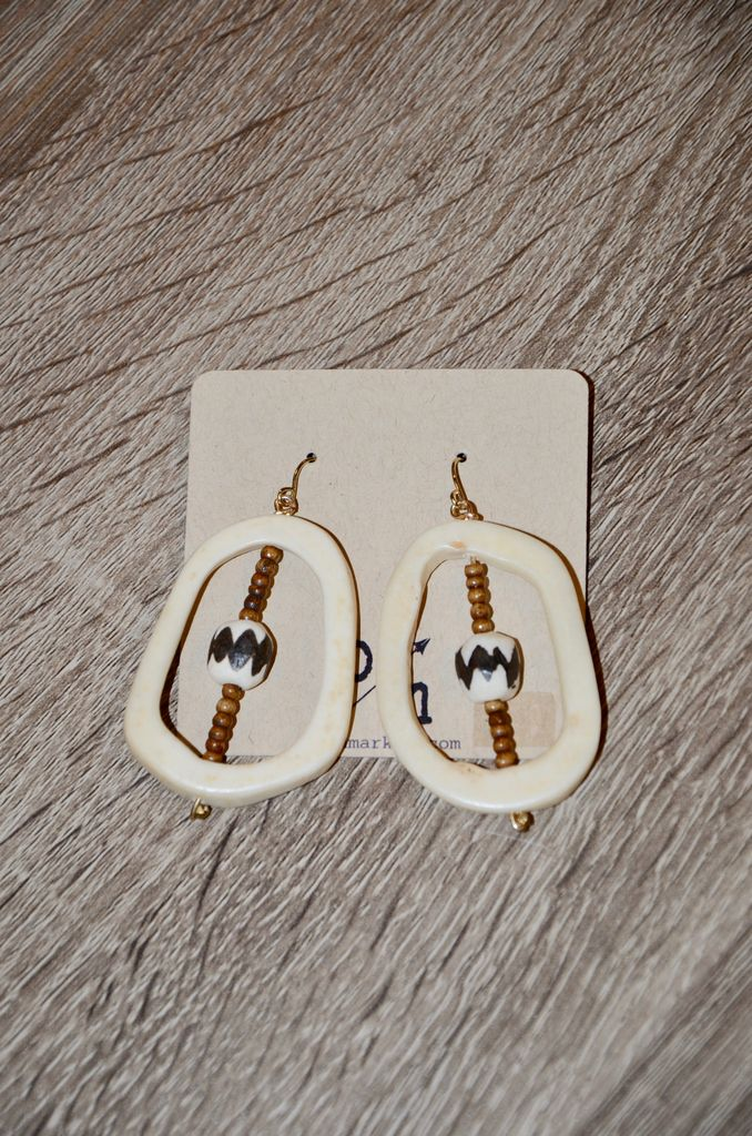 burnmark Open Drop Earrings - Batik