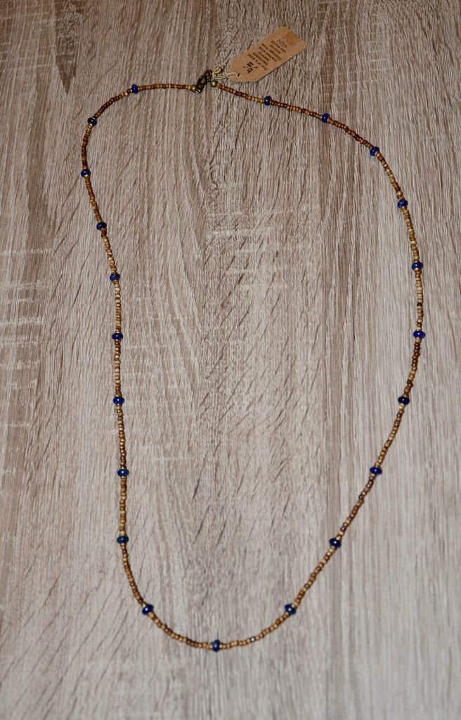 burnmark Sullivan Layering Necklace - Lapis & African beads