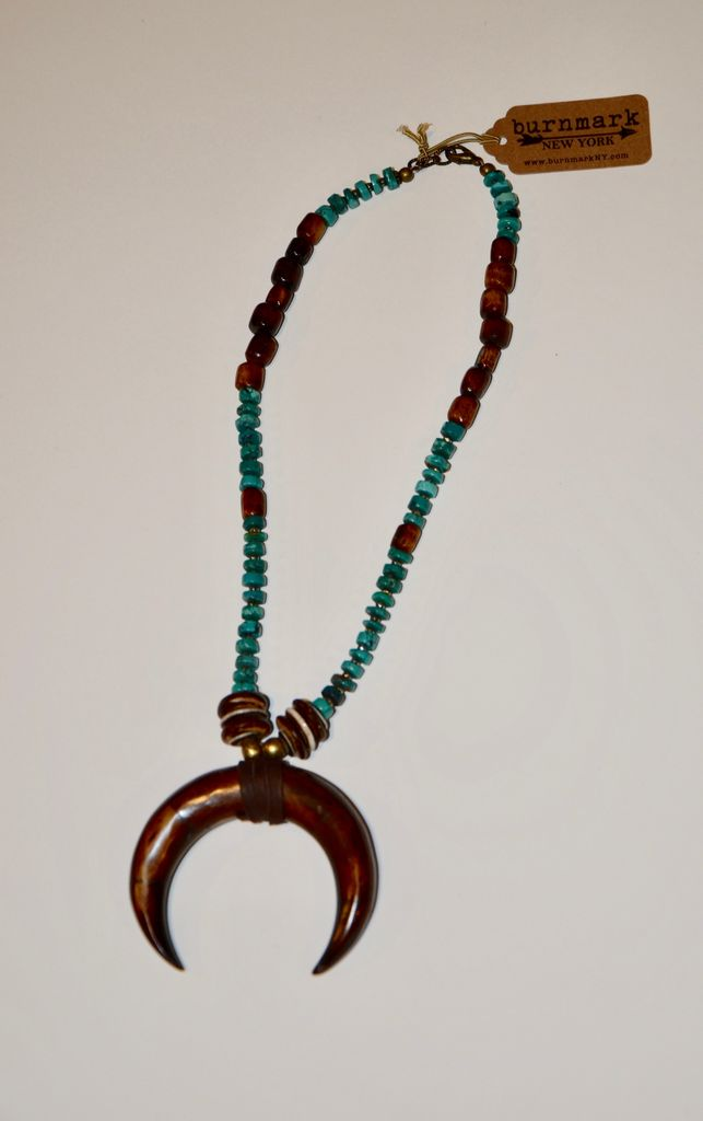 burnmark Perry Necklace - Turquoise and Pyrite