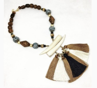 burnmark Tassel Necklace - Navy & Olivewood
