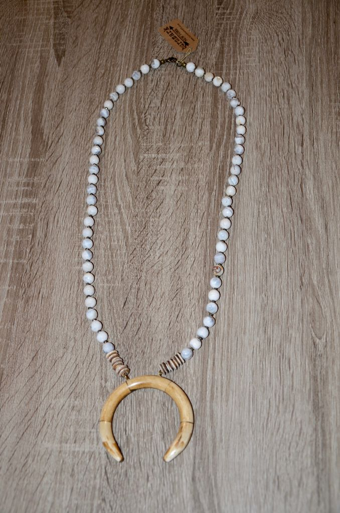 burnmark Perry Necklace - White Agate & Pyrite