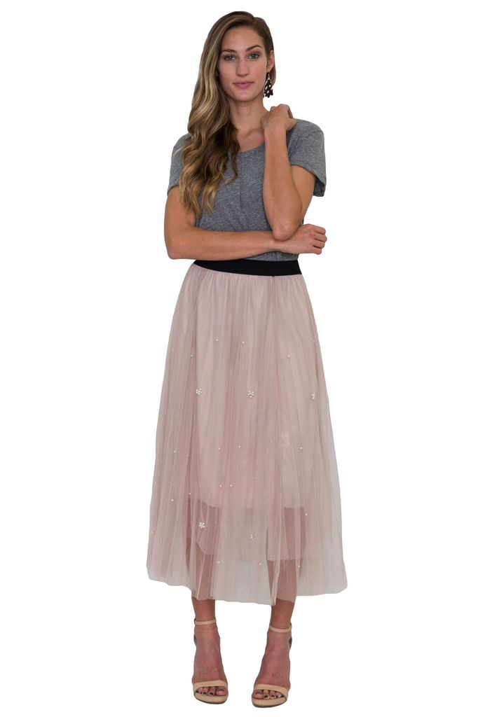 Comme Toi Mesh Tulle Skirt with Pearl Detail