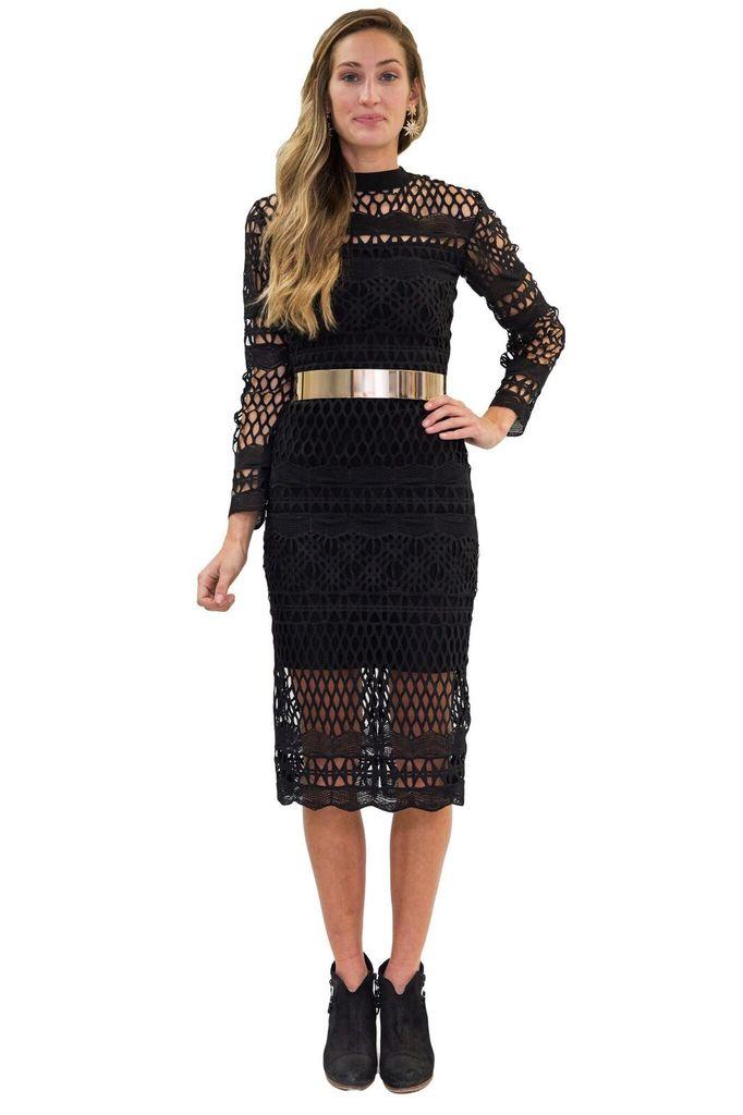 Forever Unique Justine Long Black Lace dress