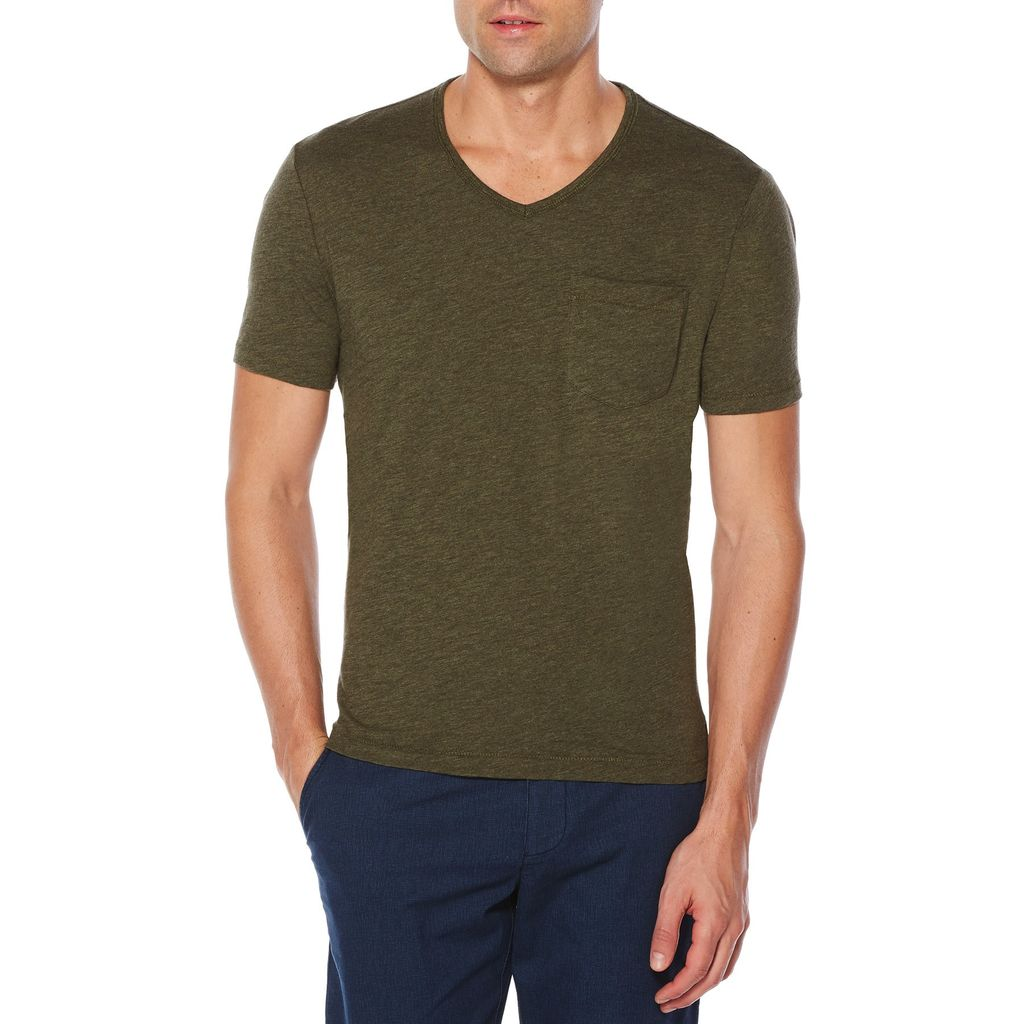 Original Penguin Bing V Neck Tee in Forest Night