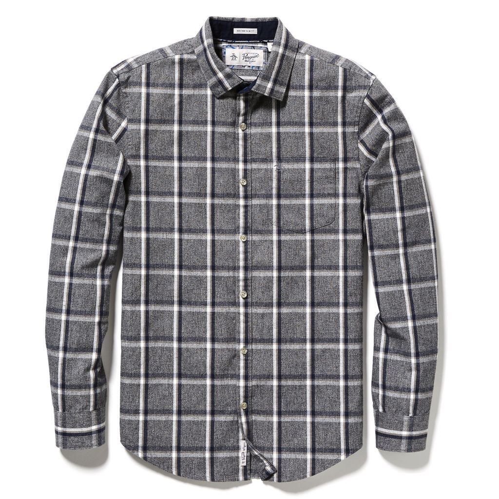 Original Penguin Jaspe Brushed Flannel Plaid Shirt