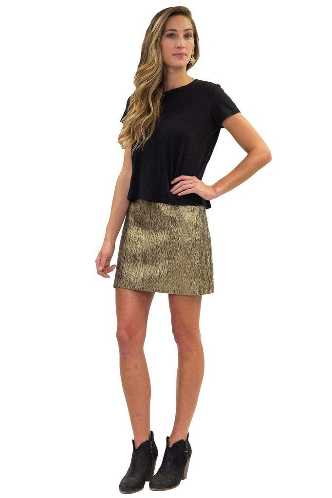SEE YOU SOON Gold Mini Skirt
