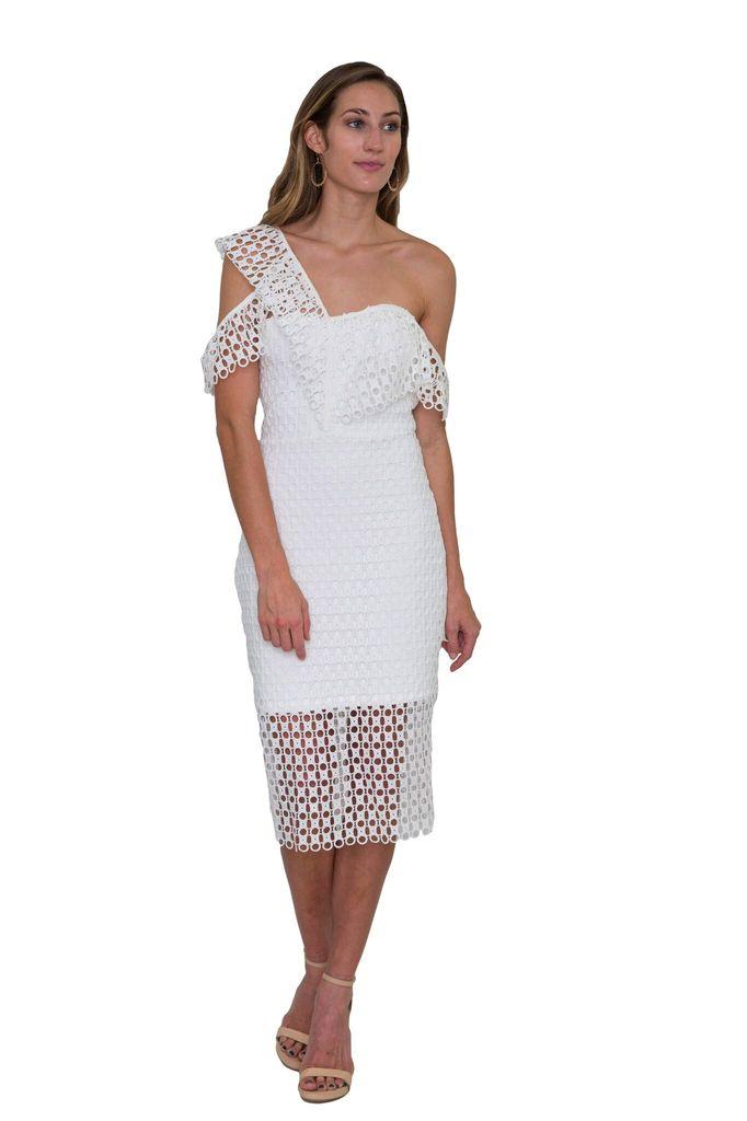 Shilla The Label Ornate Circle Lace Ruffle White Dress