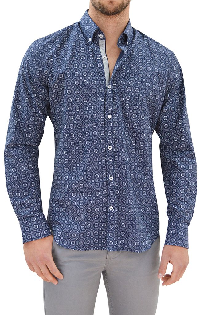 Stone Rose Floral Geo L/S Dress Shirt, Navy/White