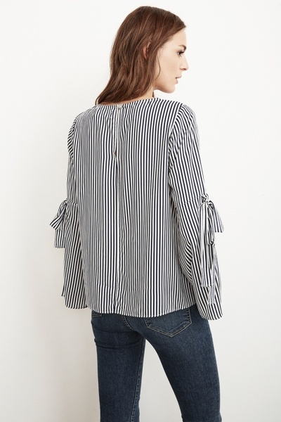 Velvet Women Adia Vertical Stripe Bell Sleeve Top