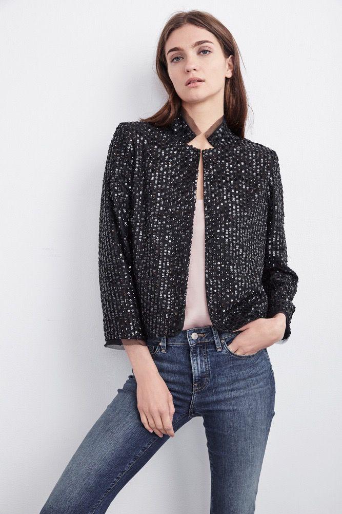 Velvet Women Razio Mock Neck Sequin Jacket