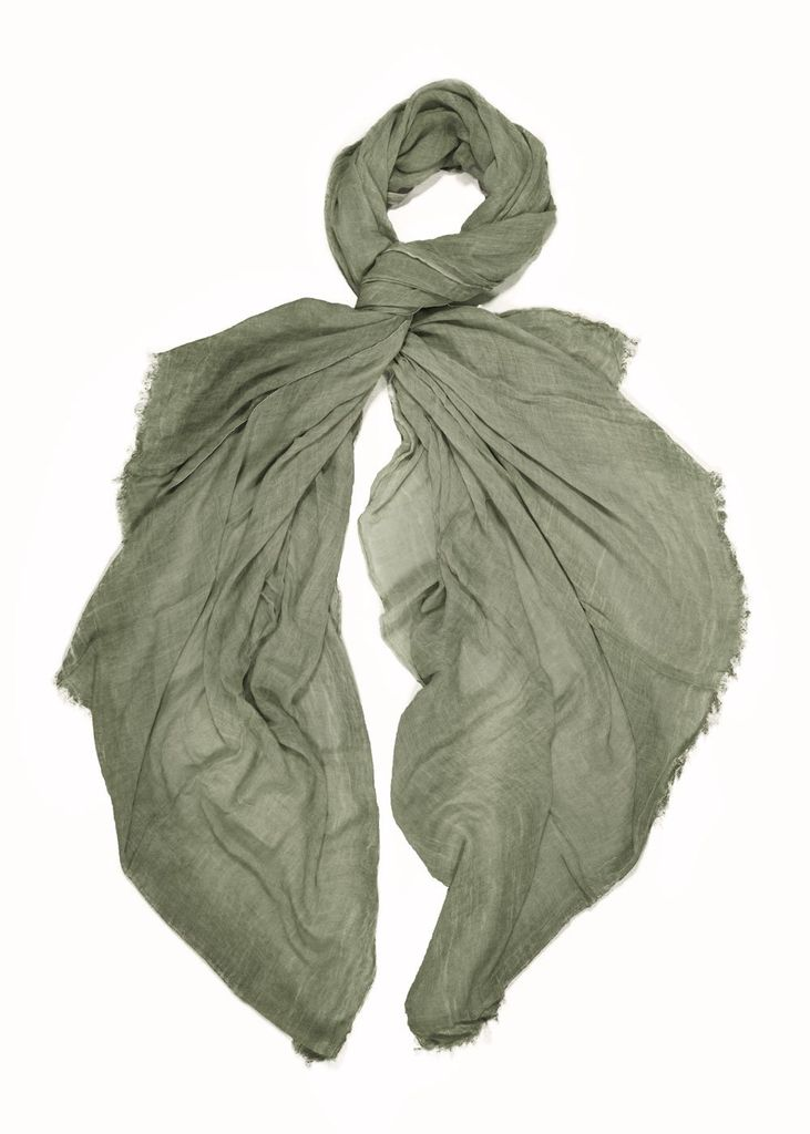 Look By M Vintage Cotton Long Scarf in Khaki Green