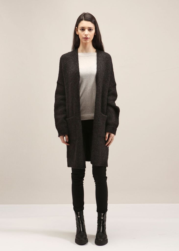 Look By M Snap Button Knit Cardigan in Charcoal