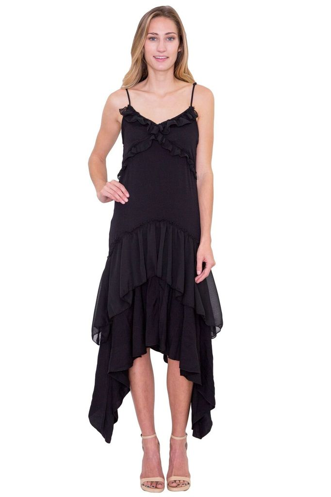 SAM & LAVI Meredith Black Ruffle Dress
