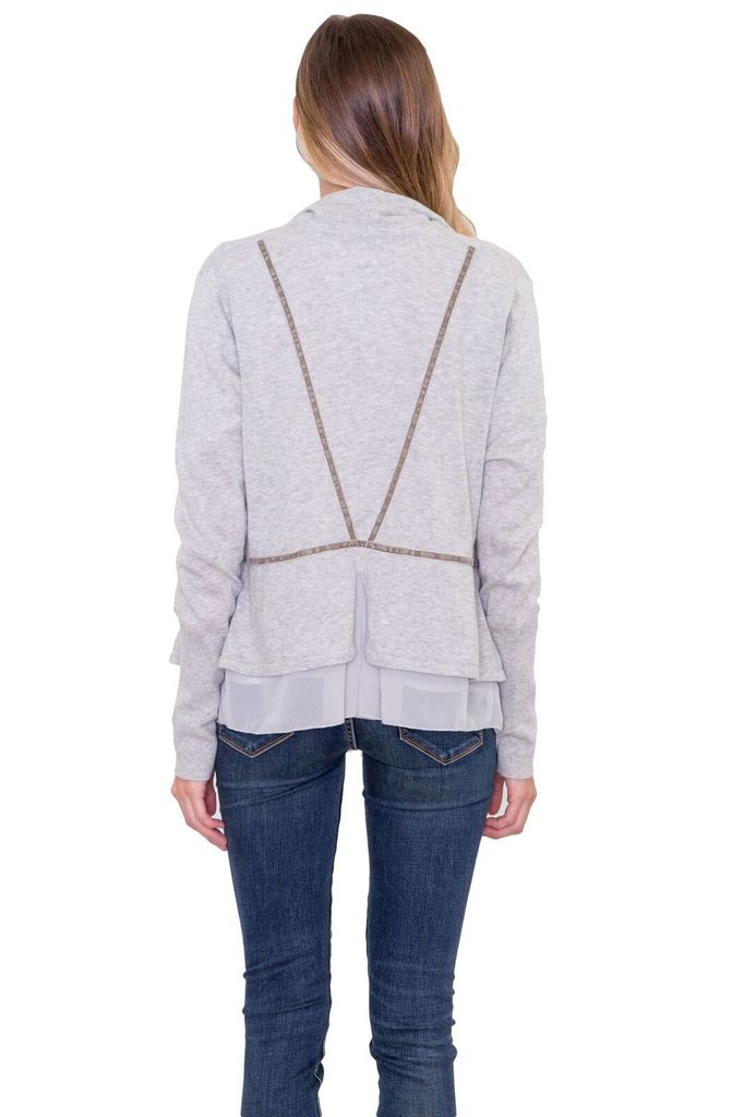 OST Grey open front sweater with slight ruffle detail.