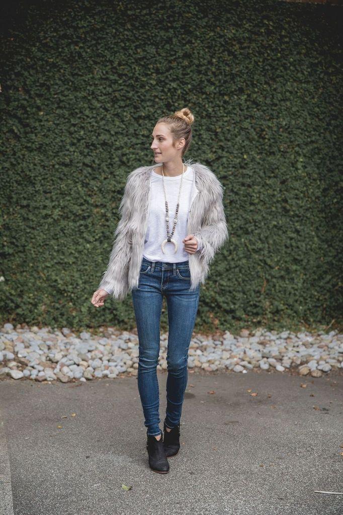 WISH Faux Fur Light Grey Jacket