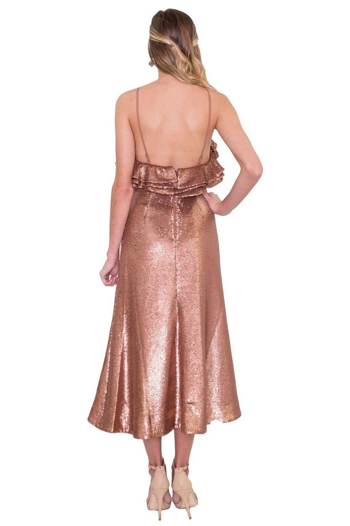 CAMEO Illuminated Sequin Dress in Copper