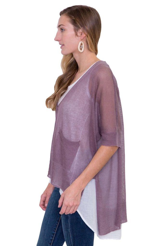 Look By M Sheer Cardigan in Purple