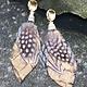 burnmark Feather Earrings, Metallic Gold & Cream