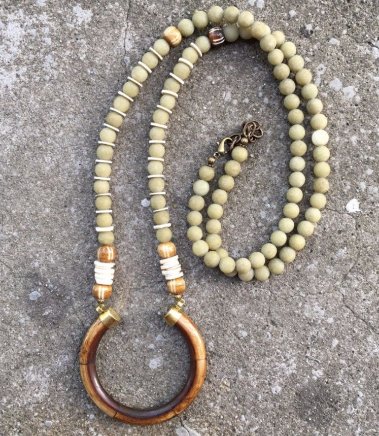 burnmark Perry Necklace in Sage