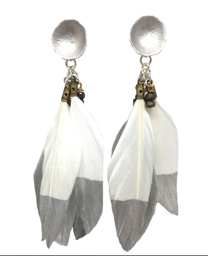 burnmark Silver Dipped Feather Earrings, White